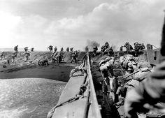 U.S. Marines landing on the beach of Iwo Jima