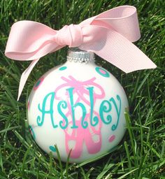 Personalized Monogrammed Christmas Ornament Ballet by AccentDeals Christmas Vinyl, Christmas Ornament Crafts, Christmas Baubles, Winter Christmas, Holiday Crafts, Christmas Decorations, Vinyl Crafts, Vinyl Projects, Dance Crafts