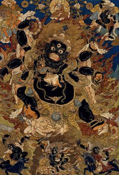 Mahakala is the embodiment of timeless transcendence achieved through the creative channeling and transformation of aggression Tibetan Mandala, Tibetan Art, Tibetan Buddhism, Buddhist Art, Japanese Artwork, Japanese Prints, Vajrayana Buddhism, Thangka Painting, Traditional Paintings