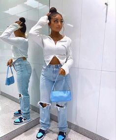 Baddie Outfits Casual, Dope Outfits, Stylish Outfits, Girl Outfits, Fashion Outfits, Black Girl Fashion, Teen Fashion, Womens Fashion, Ripped Jeans