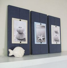 Set of Three Navy Blue 2 Plank Frames for 4X6 Pictures on Etsy, $79.95 something like this for the bathroom?