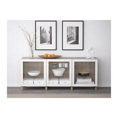 BESTÅ Storage combination with doors - walnut effect light gray/Glassvik white clear glass - IKEA