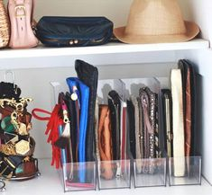 5 Ways to Organize and Store Handbags – Disney Dooney & Bourke Guide – Purses And Gandbags Organization Organisation Hacks, Handbag Organization, Purse Organization, Kitchen Organization, Organizing Purses In Closet, Closet Storage, Bag Storage, Organize Purses, Basket Storage