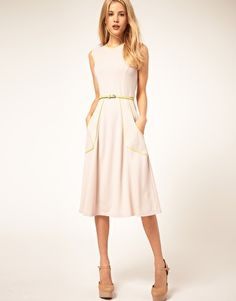 ASOS Midi Dress with belt and pleat detail. In navy and nude.