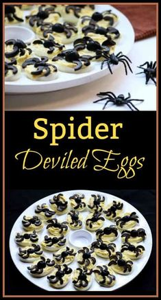 These Spider Deviled Eggs make fantastic Halloween food. They are tasty homemade deviled eggs topped with black olives that look like spiders!