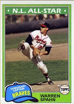 1981 Topps Warren Spahn, Milwaukee Braves, Cards That Never Were: 1981 All Star Game Honorary Captains: Warren Spahn & Bob Feller