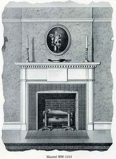 """Bilt Well Mantels and Shelves ~ A Colonial mantel consistently develop in the style of that period. As illustrated, it is 5'-0"""" wide and 4'-6"""" to the top of the shelf, but can be made in any proportionate size."""