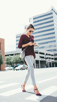 burgandy longsleeve, light blue jeans, black flats {fall or winter}