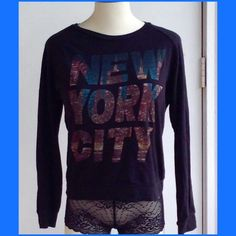 Long sleeve top with NYC on front,💕😊💕 Comfy, easy care top, long sleeve, black, with NEW YORK CITY in colorful letters! Great with jeans, 💕💕 Boutique Tops