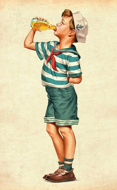 Vintage Illustration Vintage Illustrations by Oscar Ramos Pin Ups Vintage, Images Vintage, Vintage Boys, Vintage Pictures, Vintage Cards, Vintage Children, Retro Vintage, Vintage Ideas, Vintage Design