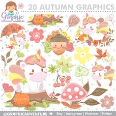 75%OFF - Autumn Clipart, Autumn Graphics, COMMERCIAL USE, Kawaii Clipart, Unircorn Clipart, Unicorn Graphics, Autumn Party, Fall Graphic