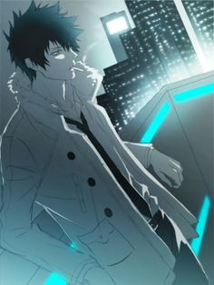 "Psycho-Pass ~~ The eerie blue of the Dominator implies they are keeping an eye on their ""dogs"""