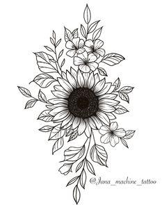 Sunflower Drawing, Sunflower Tattoos, Sunflower Tattoo Design, Sunflower Sketches, Rose Tattoos, Body Art Tattoos, Small Tattoos, Sleeve Tattoos, Tatoos