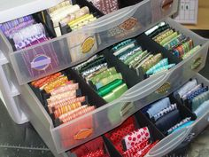 ribbon storage individual card storage for ribbon  in plastic bin drawers