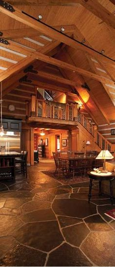 Appalachian-Style Log Home - Not so fond of the chinking (the white substance used to seal logs together). #LogHomeInteriors
