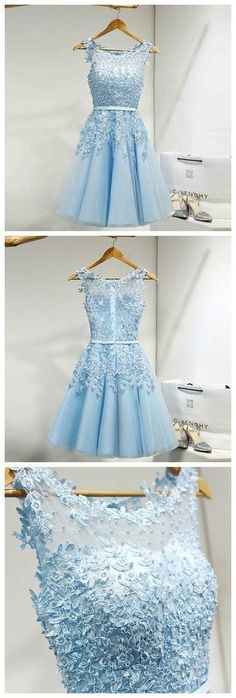 Blue Applique Party Prom Dresses 2017 new style  fashion evening gowns for teens girls sold by LoveDresses. Shop more products from LoveDresses on Storenvy, the home of independent small businesses all over the world.