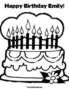 Happy Birthday Emily Coloring Page From TwistyNoodle