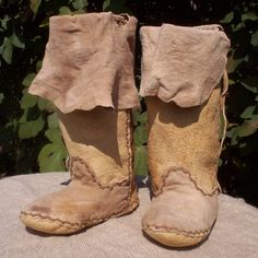 Brain Tanned Buckskin Plains Moccasin Boots 5/6 by PahanaHides