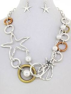 Chunky Beach Charm Silver Chain Necklace Earring Set Fashion Costume Jewelry