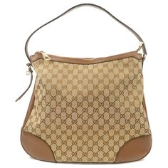 GUCCI GG Canvas Leather Shoulder Bag Brown 449244 Used F/S Canvas Leather, Leather Shoulder Bag, Gucci, Brown, Bags, Products, Handbags, Leather Shoulder Bags, Brown Colors