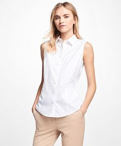 Brooks Brothers - $88 - Buy 2 Get the 3rd Free - Non-Iron Fitted Sleeveless Dress ShirtWhite