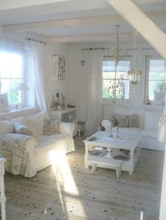Floors Knotty White washed - Enchanted Shabby Chic Living Room Designs