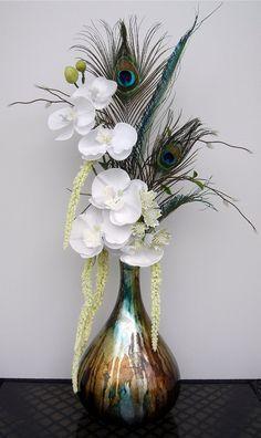 Artificial Flower Arrangement Peacock Feathers Mirror Vase Flower Arrangements Wedding Ideas