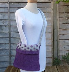 FELTED WOOL  'bobble' bag ( over-body style) . Purple and grey .. ready to ship. £20.00