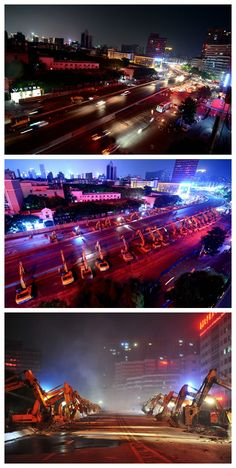 Busy overpass in SE China to be replaced with subway line A total of 68 excavators were dispatched on Friday night to remove the Yonghemen Flyover, which was a vital road of downtown Nanchang in southeast China's Jiangxi Province. The area affected by the dismantling of the flyover will be cleared by Monday when traffic is expected to resume. The move came as a new subway line, Nanchang Subway Line 2, is set to pass through the area to help ease traffic volume. Chinese News, Cat Excavator, News Stories, Resume, Friday, China, Night, Cv Design, Porcelain