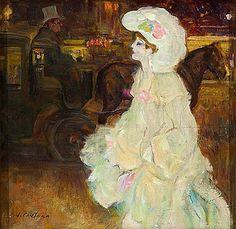 Joan Cardona Lladós (Barcelona,1877-1957) Joven parisina Óleo sobre lienzo