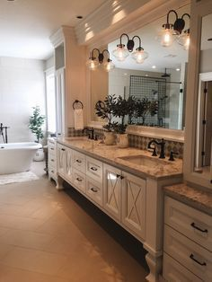 Gorgeous Master Bathroom Features A Light Grey Double