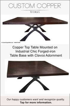 """This 90"""" x 84"""" massive rectangle copper table top dining table comfortably seats 12 people with plenty of legroom. The iron base legs are flat iron, welded together. The finish is a boat grey powder coating with spray aluminum bridge paint to soften the color and add depth. The corner decorative accents are unpainted clavos to compliment the grey table base. The dark brown copper top is the crowning glory of this truly unique copper table design. All sizes and copper lamina colors available."""