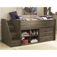 Signature Design by Ashley Juararo Twin Loft Bed with Left Storage Steps - B251-13L+68T+17+19+B100-11