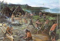 Hierboven zie je een goede beschrijving van hoe de mensen in de prehistorie leefden. Je ziet de tenten waarin ze woonden. Het is maar een klein dorpje meestal aan water. De mannen waren bezig met het zware werk zoals: Boten maken, wapens maken, trainen en vechten. De vrouwen zijn meer van het beleide werk zoals: koken, kleden maken en kleding maken. Het leven was vrij eentonig zoals je ziet.