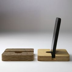 Phone dock, made from salvaged birch ply or oak