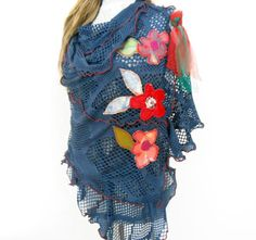 Blue Scarf - Blue Hole Shawl - Women's Clothing - Hippie Scarf - Scarves Floral Applique - Winter Accessories - Christmas Gifts -Gift Option