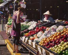 Realistic Watercolor Paintings By Kansas Artist Marlin Rotach ~ farmer's market