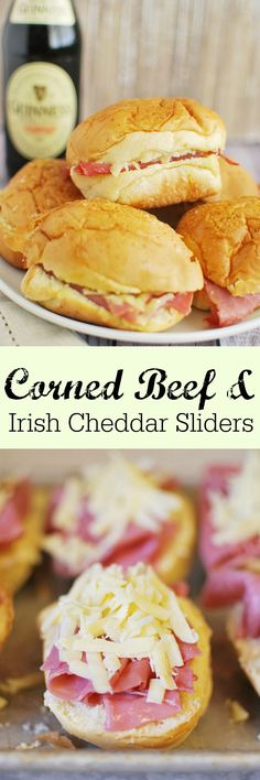 Corned Beef and Irish Cheddar Sliders - perfect for St. Patrick's Day! And so easy!