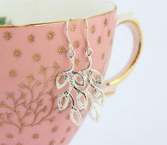 Sterling Silver Leaf Earrings Silver Branch by JacarandaDesigns