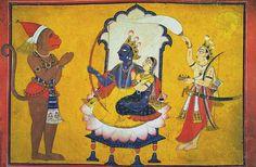 Hanuman's adoration of Rama and Sita, Master of the Court of Mankot, Hindu Deities, Hinduism, Sita Ram, Miniature Paintings, Indian Artist, Krishna Art, Hindu Art, Indian Gods, Hanuman