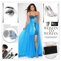 Blue Long Prom Dress by johnnymuller on Polyvore featuring Miu Miu, Jimmy Choo, MARBELLA, Mineral Essence, Gucci and Maybelline
