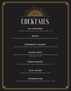 Black and Gold Art Deco Elegant Cocktail Menu - Cocteles Bebidas Resturant Menu, Restaurant Menu Design, Mocktails Menu, Drink Menu Design, Menue Design, Art Deco Bar, Art Deco Logo, Cocktail List, Cocktail Drinks