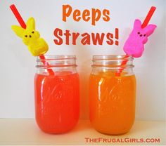 Peeps Straws!  {plus many more fun Peeps ideas!!} ~ from TheFrugalGirls.com #easter #peeps #straws