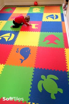 Create beautiful kids playroom floors using SoftTiles Die-Cut Foam Mats. Choose the colors and shapes to create your one of a kind playmat for your child's playroom.