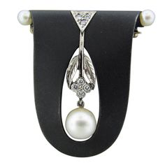 MARSH & CO Gold  Steel Diamond Pearl Brooch Pin, 14k White gold steel, diamond, pearl. 20th Century. 1stdibs.com.