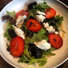 Skinny Diamond-Strawberry~Prune~Date Goat Cheese Salad w/dried Blueberries & Olive Oil-Honey Drizzle....#skinnydiamond