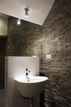 zen bad ohne fliesen natursteinwand glas duschkabine holz ... - Natursteinwand