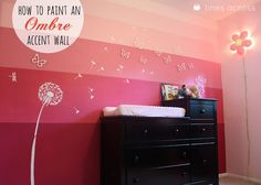 DIY Ombre Accent Wall via Lines Across