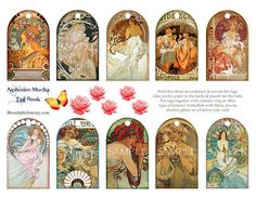 AlPhOnSe MuChA tag book collage sheet valentine love flower rose roses hang gift tag women beauties
