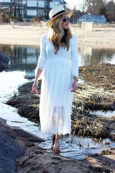 White Midi Dress at Hammonassett BeachStyle Cusp